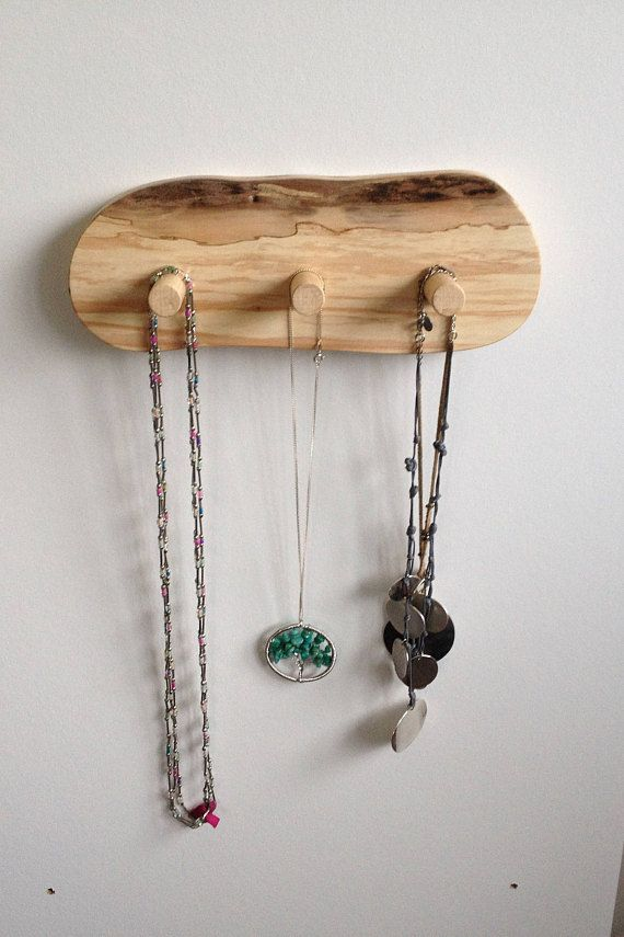 Natural peg rack wooden hanging rack Jewelry organizer necklace