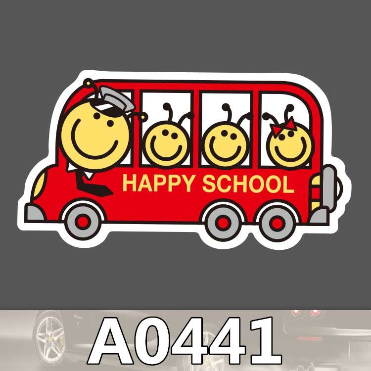 A0441 Happy School Bus Cartoon Waterproof Sticker For Cars