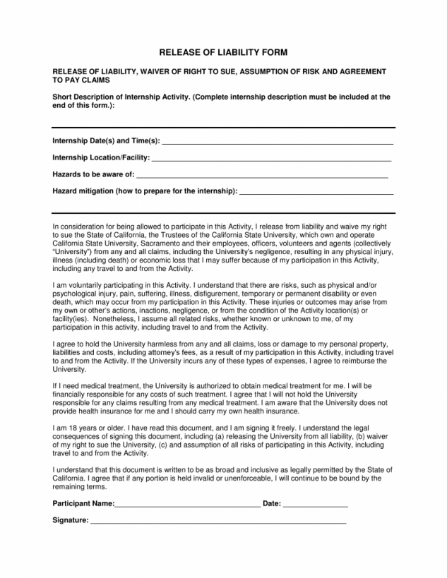 California Release Of Liability Form Within General Release Of Liability Form California Liability Form Release