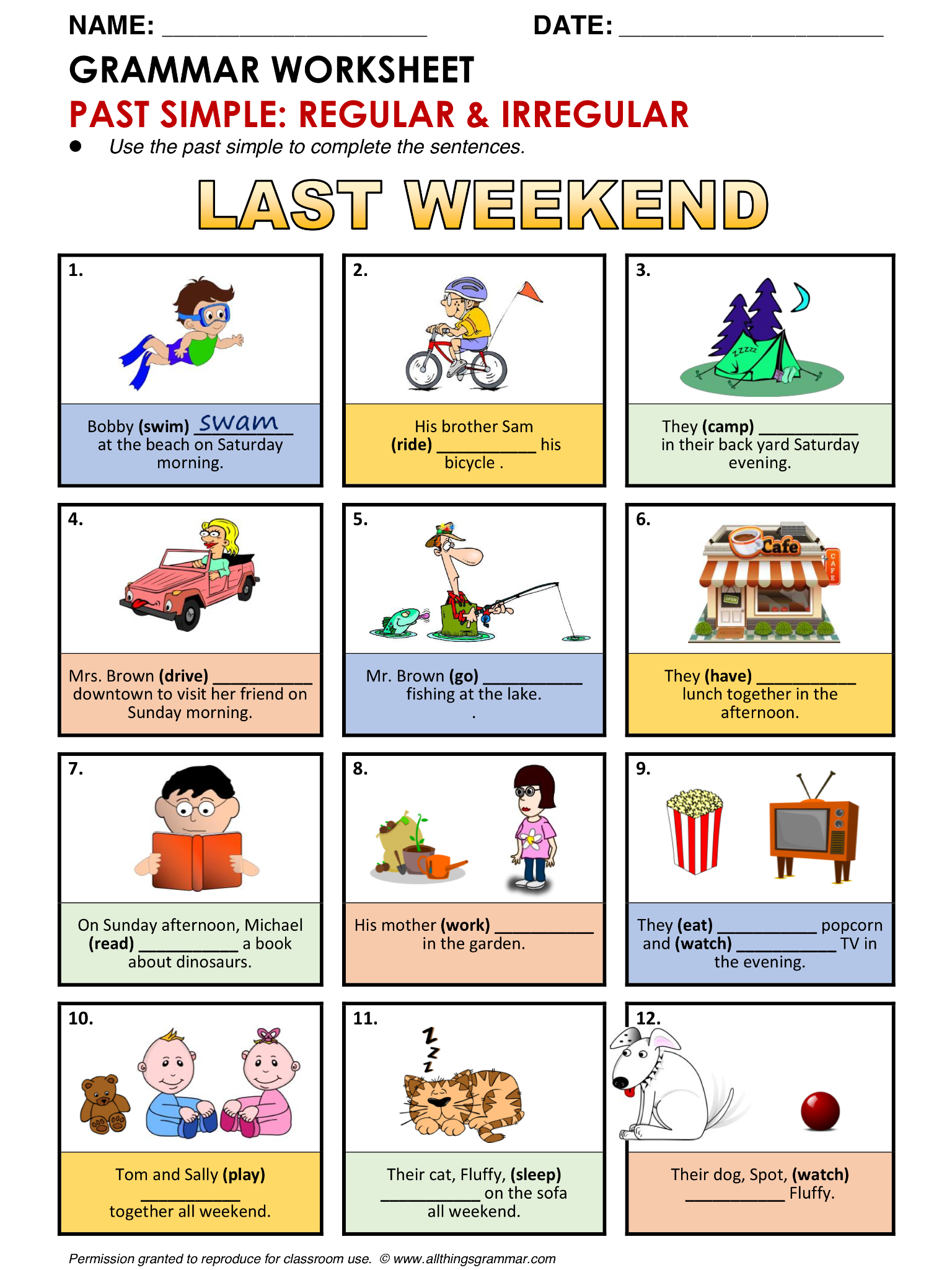 English Grammar Worksheet Past Simple Regular