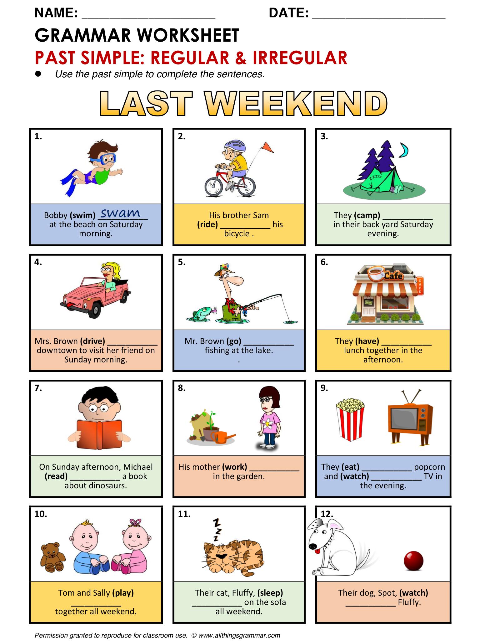 regular and irregular verbs worksheets pdf