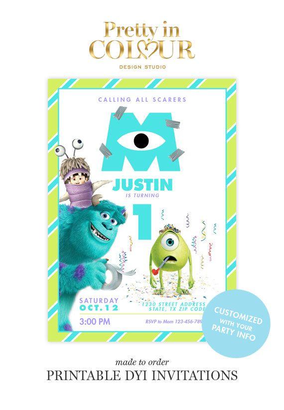 Monsters Inc Birthday Invitations Design File By Prettyincolour