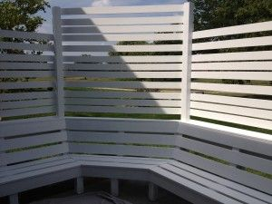 Privacy bench seating perfect for an outdoor summer day! http://carlsonprojectsinc.com/2013/08/outdoor-furniture-from-hgtv-and-pinterest/