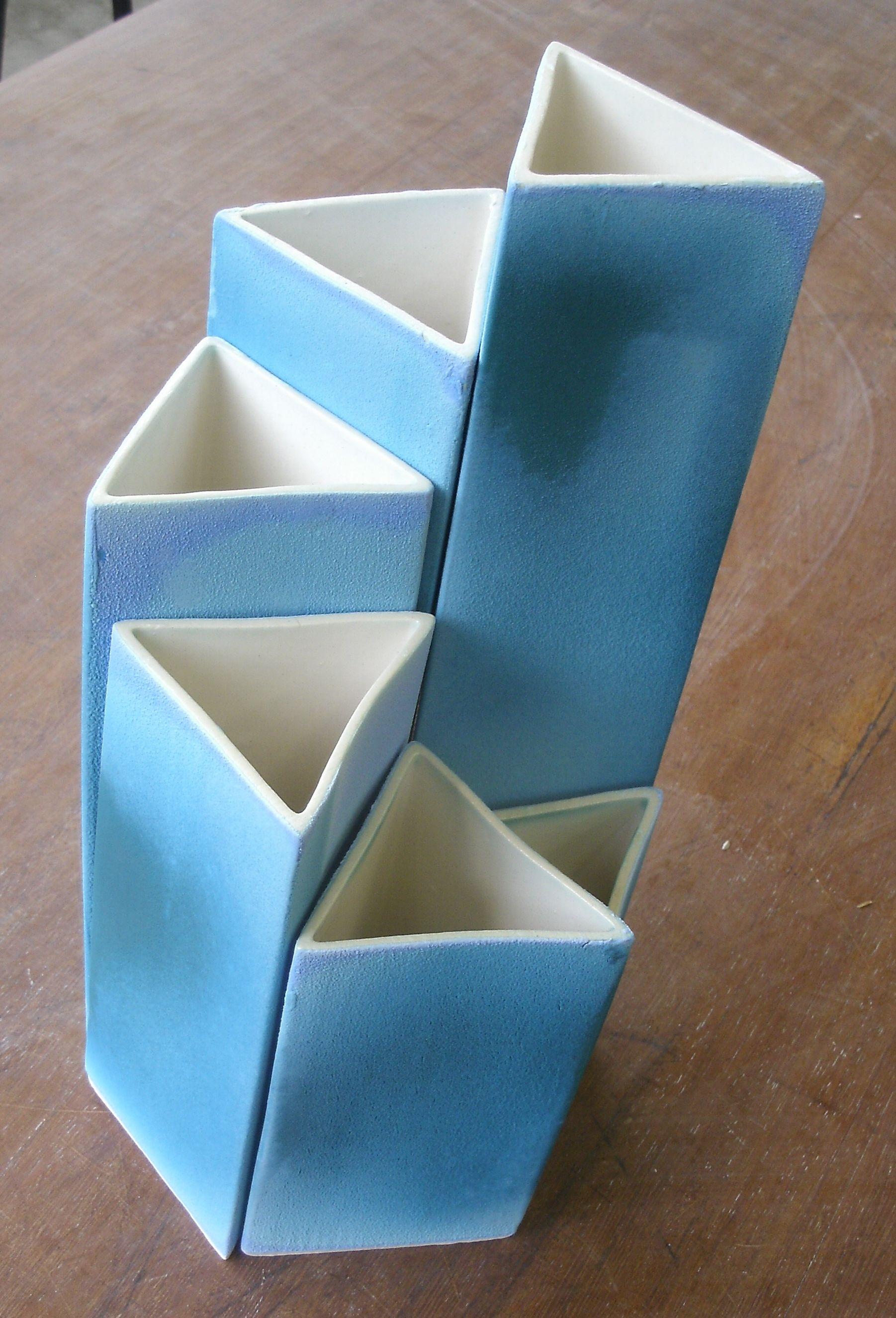 Set Of Slab Built Vases Slab Ceramics Slab Pottery Diy Vase