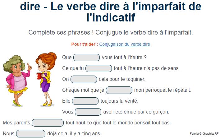 Exercice De Conjugaison Le Verbe Dire A L Imparfait Exercices Conjugaison Exercice De Francais Cm1 Conjugaison Cm1