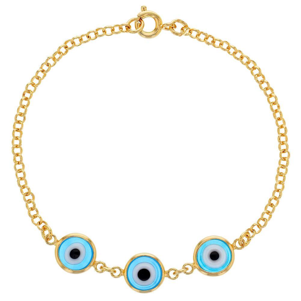 K gold plated link light blue turkish evil eye protection lady