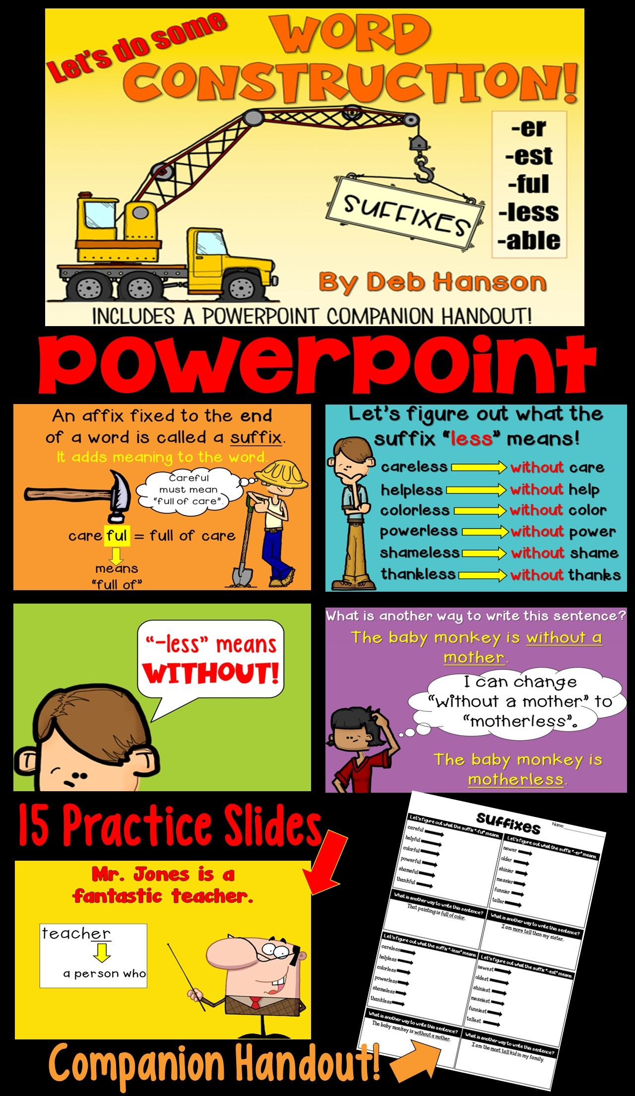 Suffixes Powerpoint Er Est Ful Less Able Er As
