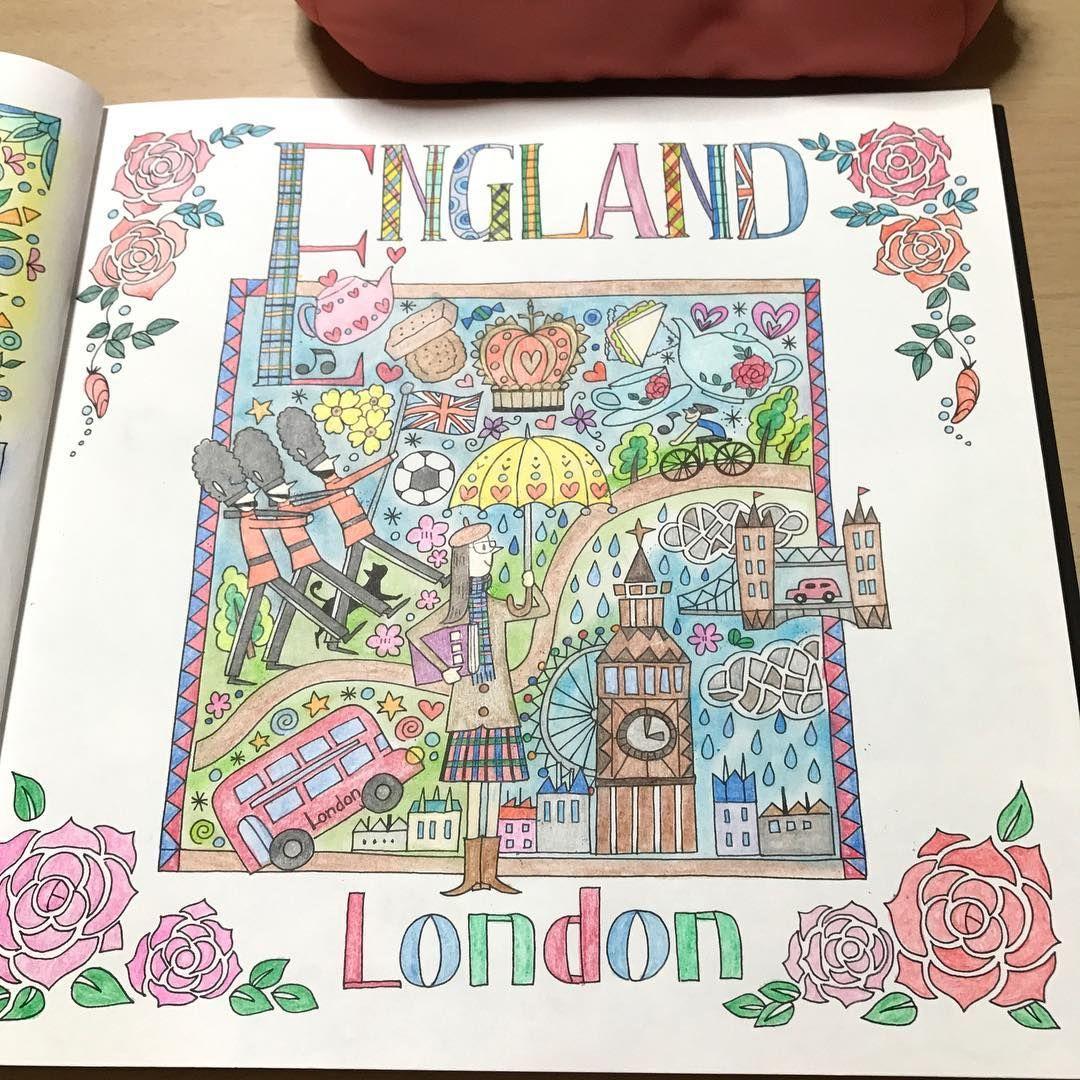 Yoko さんはinstagramを利用しています England London完成 世界一周ぬり絵の旅 おとなのぬりえ 大人の 塗り絵 ぬり絵 大人の塗り絵 塗り絵