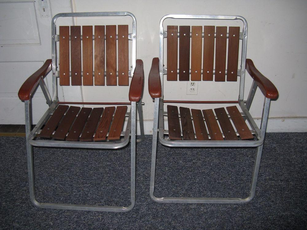 Remarkable 2 Mid Century Vintage Aluminum Redwood Slat Very Light Ncnpc Chair Design For Home Ncnpcorg
