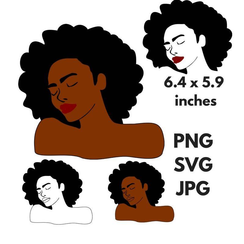Black Woman Afro Silhouette Svg Clip Art Natural Nappy Curly Hair Png Files Digital Art Black Queen African American Black Beauty Svg Silhouette Svg Clip Art Svg