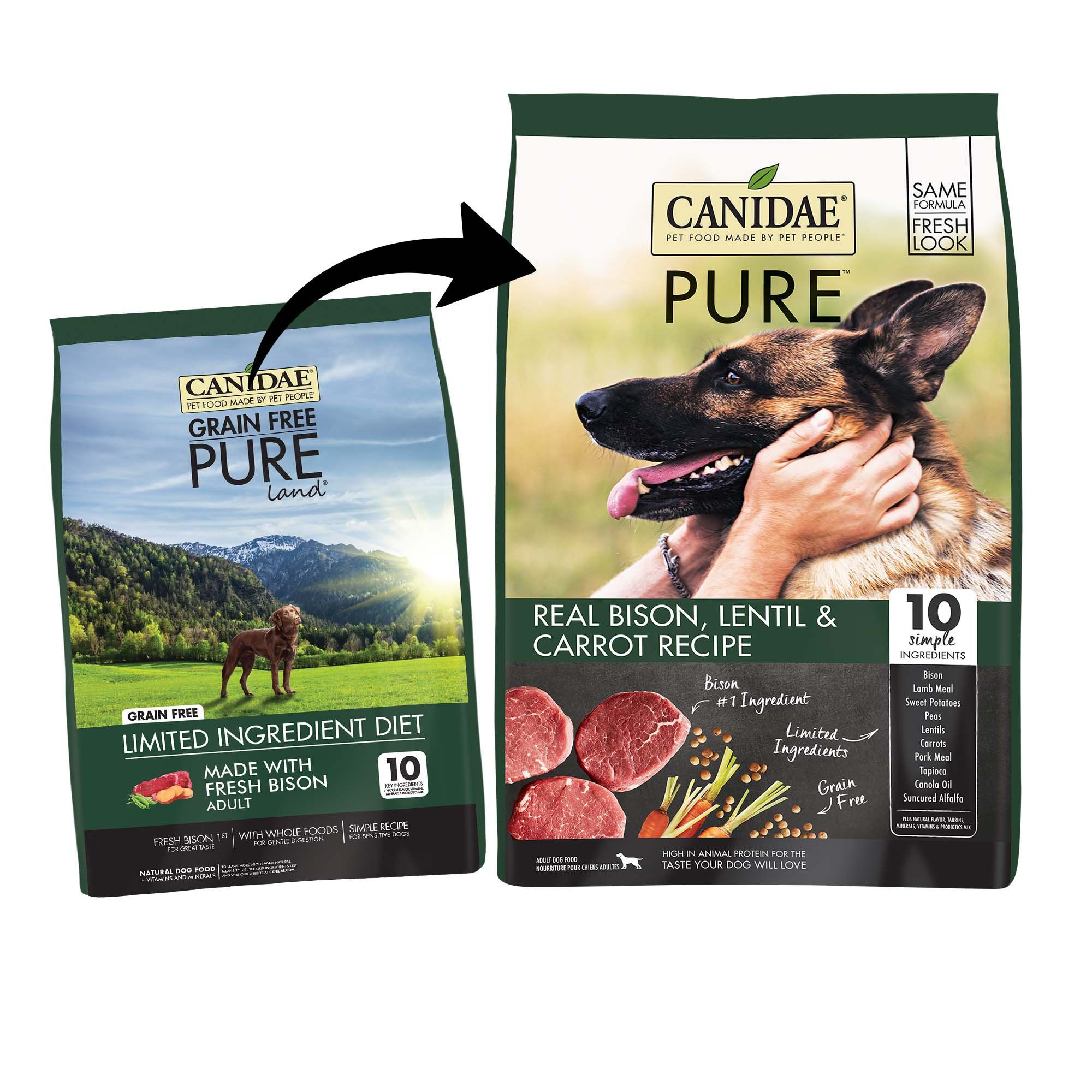 Canidae Pure Real Bison Lentil Carrot Recipe Dry Dog Food 21