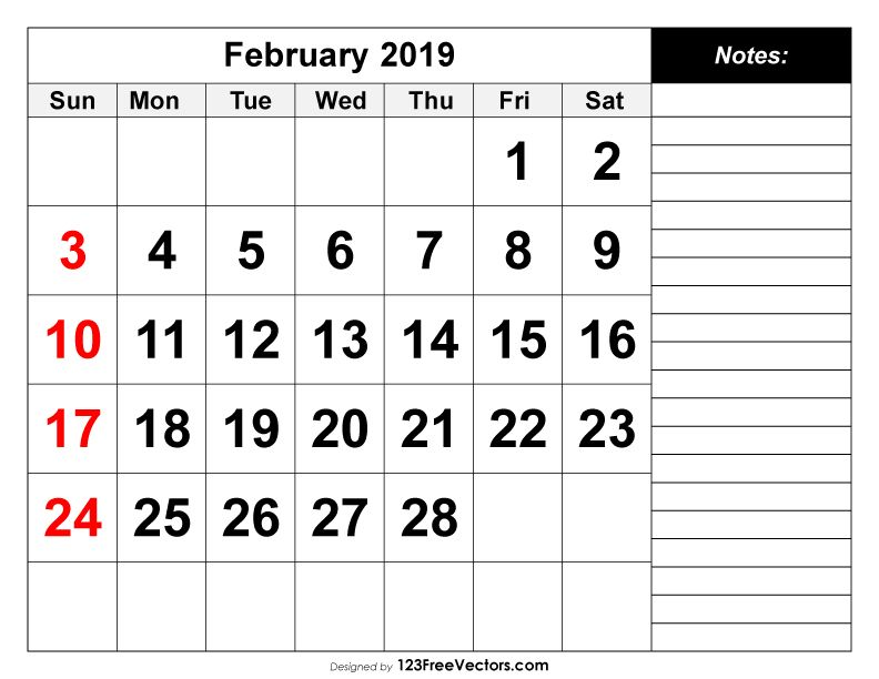 Free February 2019 Calendar Vector February 2019 Printable Calendar   2019 Calendar   Calendar