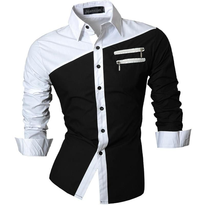 Mens casual long sleeved shirt, turn down collar, slim fitting, cotton, zipper decorated, top with no pockets, dress shirts, autumn, fall or winter