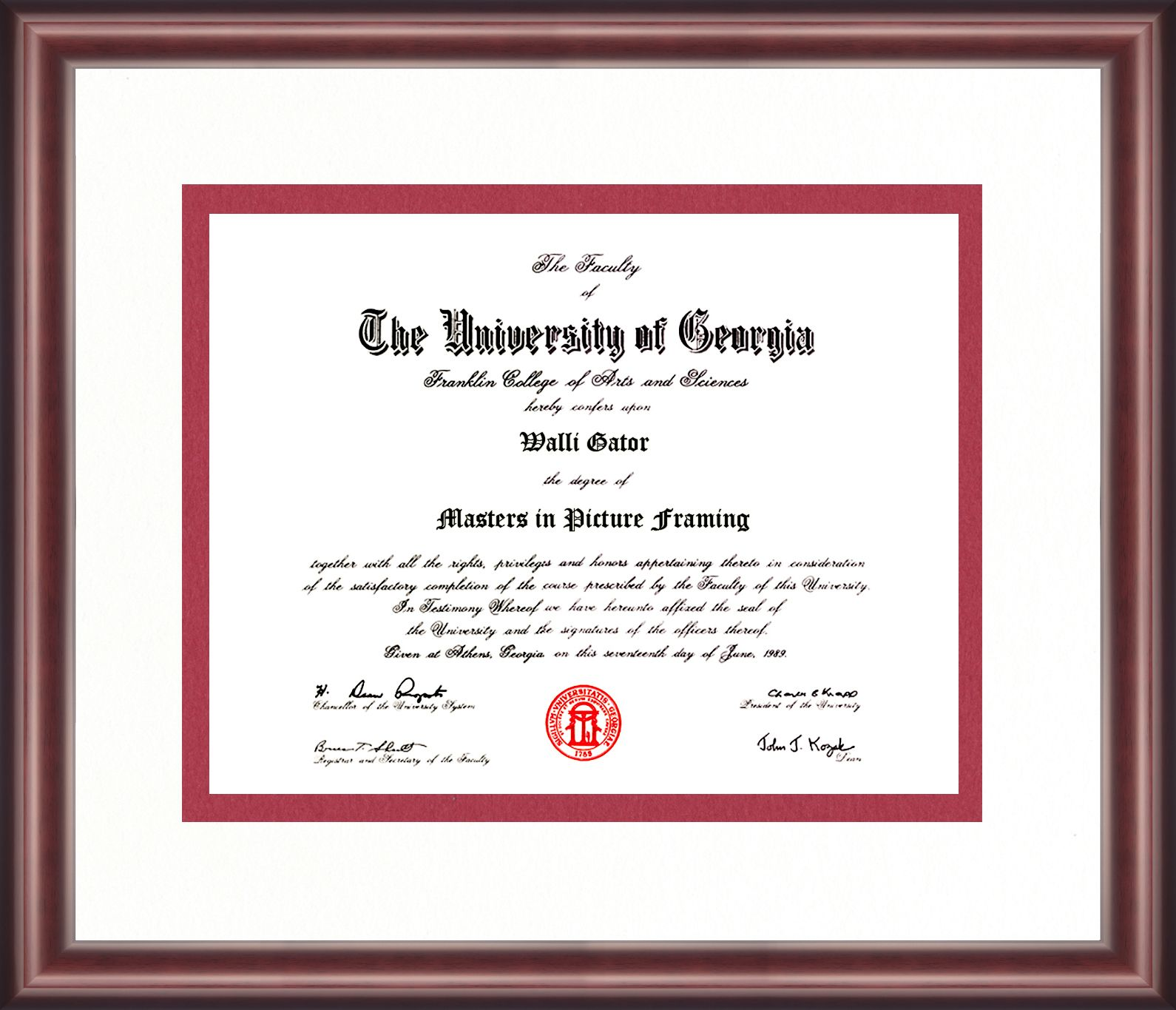 georgia university diploma frame hall seton frames talking walls graduation colors athens