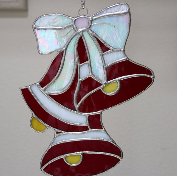 Stained Glass Three Bells And A Bow Christmas Decorations