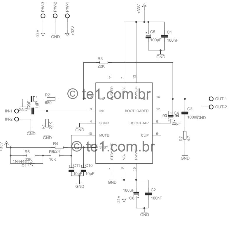 tda7293 minimus tda7294 amplificador esquema 510x500 Amplificador ...