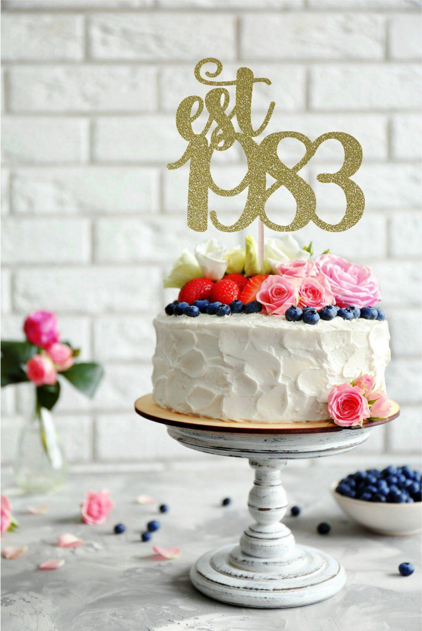 Established In 1983 Cake Topper Birthday 35th 35