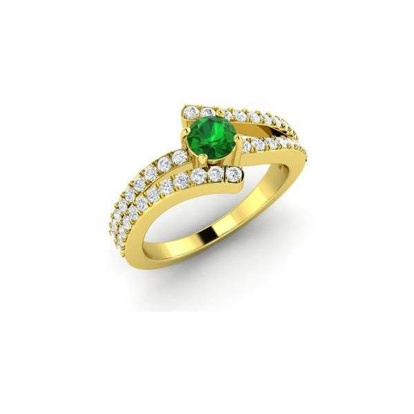 Diamondere Round Emerald VS Diamond 14k Yellow Gold Sidestone Ring (23.475.195 IDR) ❤ liked on Polyvore featuring jewelry, rings, gold diamond rings, 14k gold jewelry, cluster ring, diamond cluster ring and 14k ring