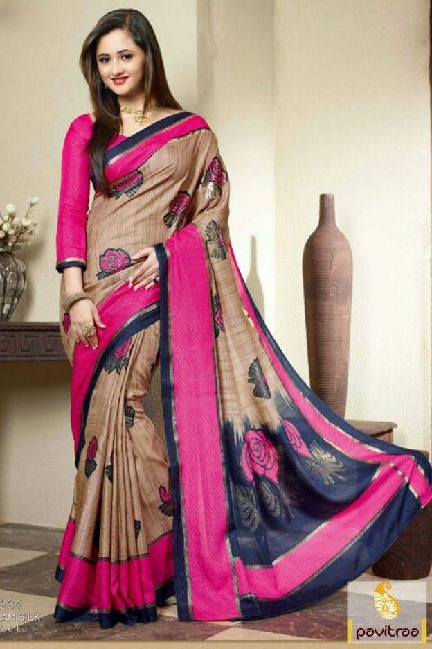 eada3bcd4a Dreamy fashion elegant life ok tv show actress rashmi desai cream color  silk saree online shopping