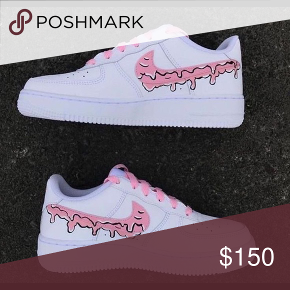 CUSTOM AIR FORCE 1 Pink drip with pink details 💗💗💗 Nike