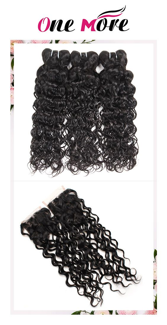 3 Bundles With Closure Malaysian Wet And Wavy Human Hair Weave Wet