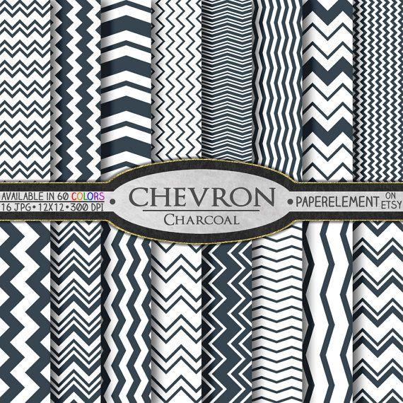 Charcoal Gray Chevron Digital Paper Pack  for Digital Scrapbooking