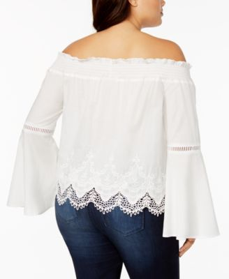 6ec7311213480 American Rag Trendy Plus Size Lace-Trim Off-The-Shoulder Top