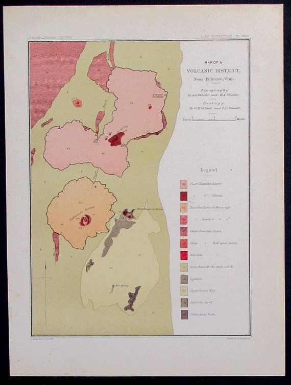 1890 Volcanic District Fillmore Utah Hot Spring, Tabernacle Craters ...