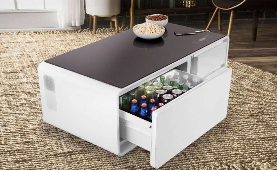 Sobro The Smart Coffee And Side Table With A Built In Fridge And Speakers Coffee Table With Fridge Cool Coffee Tables Coffee Table Cooler