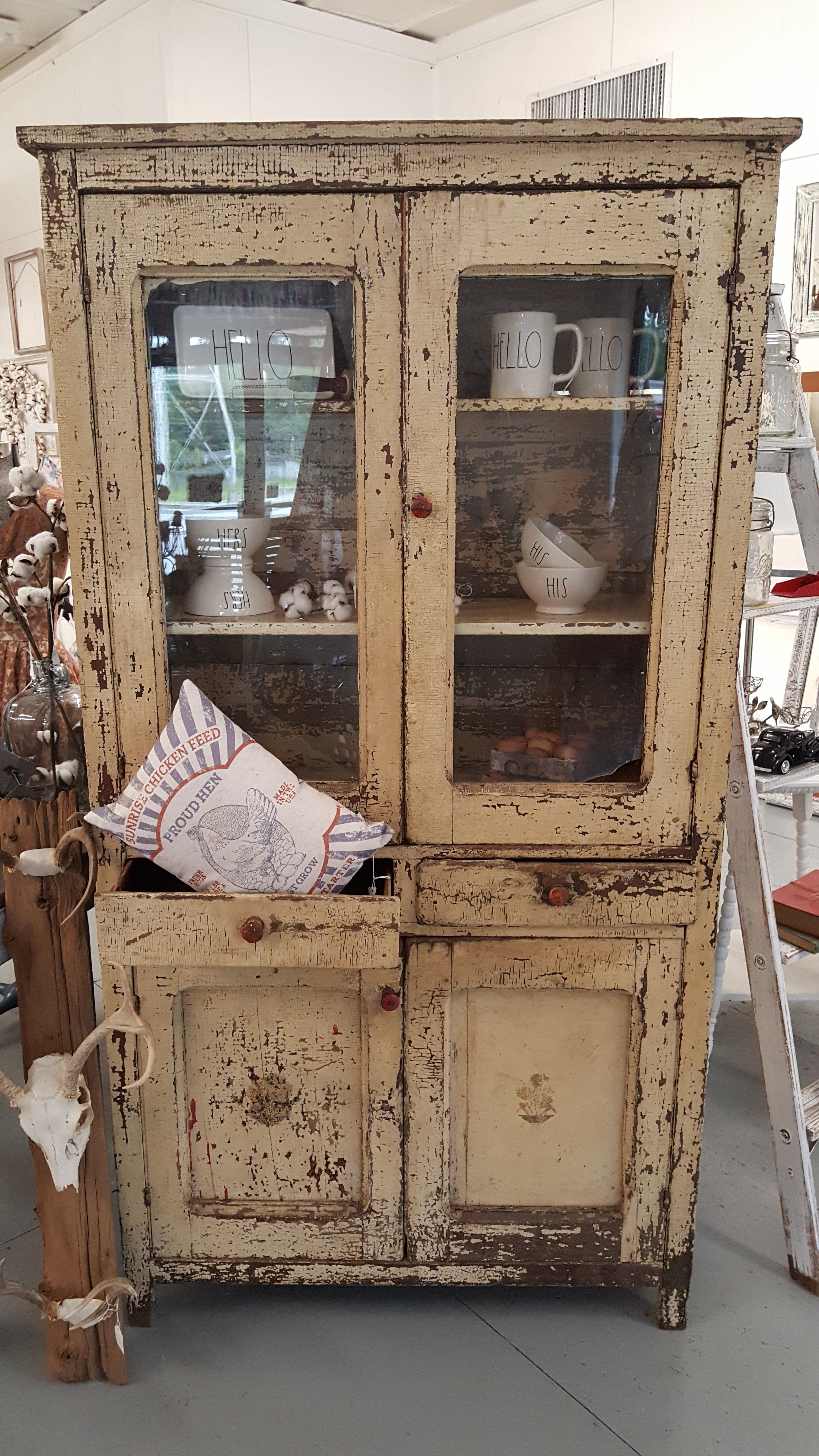 Back Up For Sale This Beautiful Antique Primitive Chippy Cabinet From The Late 1800 S A Farmhouse In Misso Antique Cupboard Primitive Kitchen Antique Kitchen