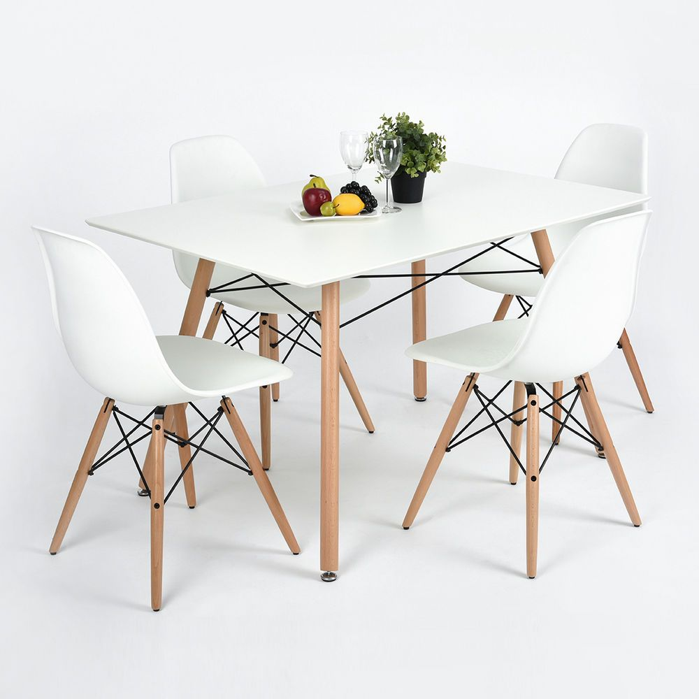 Eiffel White Designer Dining Table Set Of 4 Chairs