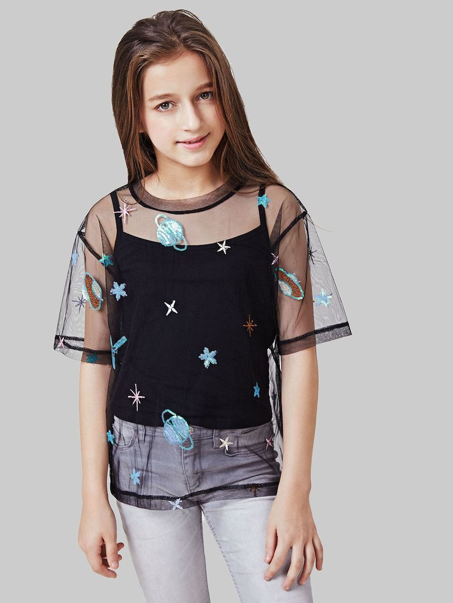 f0390e08a4558f Girls Embroidery Detail Contrast Sequin Blouse -SheIn(Sheinside ...