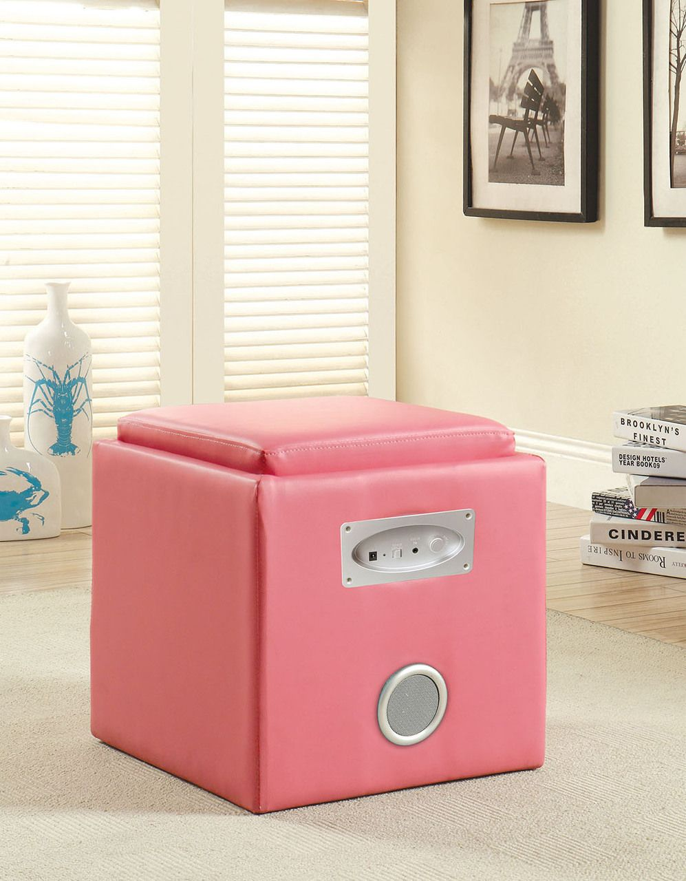 Gothic Cabinet Craft   Speaker Ottoman With Bluetooth Speakers In Pink,  $139.00 (http: