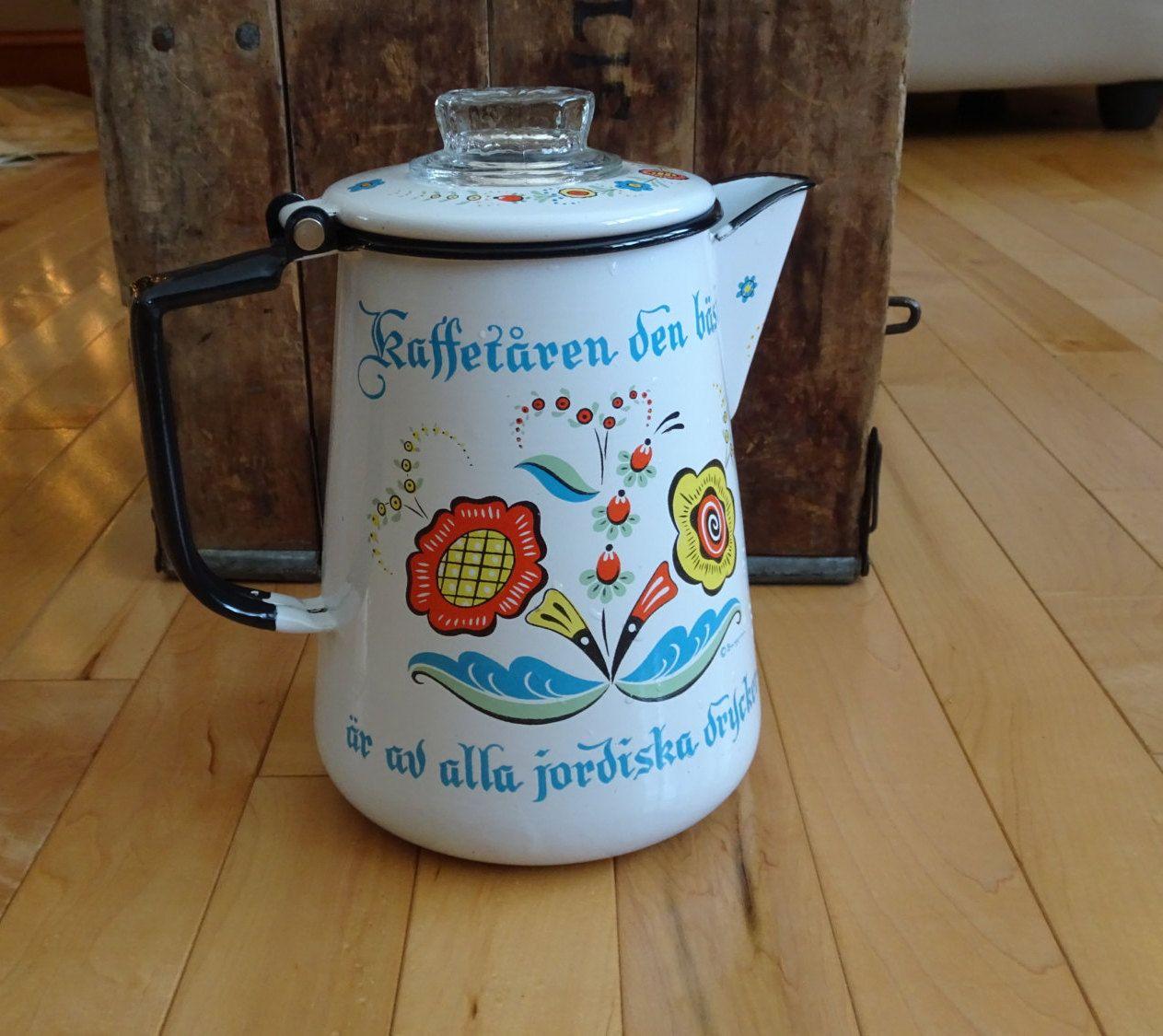 Vintage Berggren Swedish Coffee Percolator   Sweden Folk ...