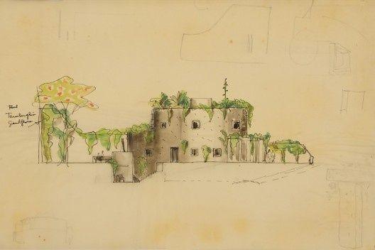 """Casa Circular, estudos, 1962. Lina Bo Bardi. Exposição """"Razão e Ambiente"""