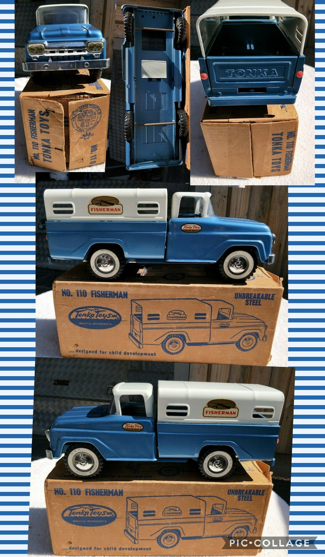 1960 toys images  Mint Original TONKA  FISHERMAN TRUCK  WITH BOX  toy trucks