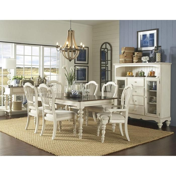 Pine Island 7 Piece Dining Table Set In Old White