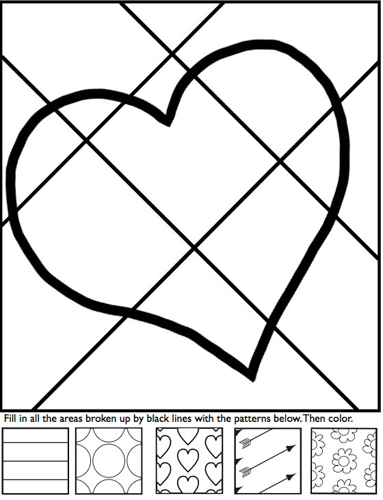 Interactive coloring sheets for Valentine's Day from Art