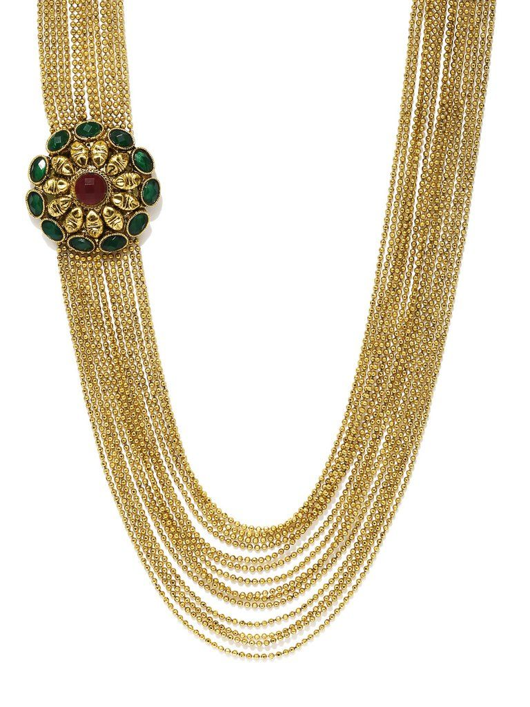 Zaveri pearls goldtoned haram necklace cotton swab pearls and