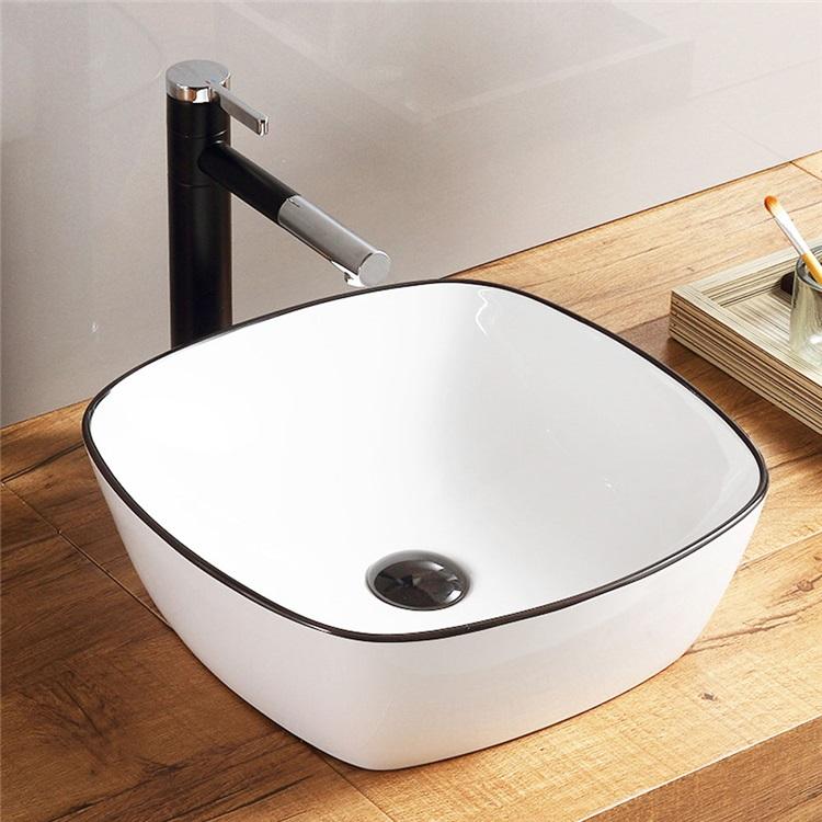 洗面ボール 手洗い鉢 手洗器 洗面ボウル 洗面器 陶器 角型 白色 排水栓 排水トラップ付 42 5cm Sk8216 Vessel Sink Modern Square Sink