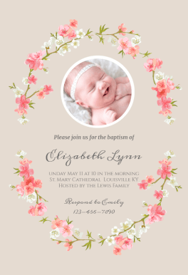 Floral Baby Baptism Christening Invitation Template Free Greetings Island Baptism Invitations Girl Diy Christening Invitations Girl Baby Dedication Invitation