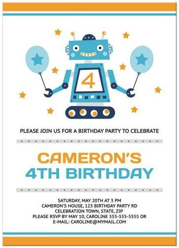 robot birthday party invitations for kids yellow orange and blue