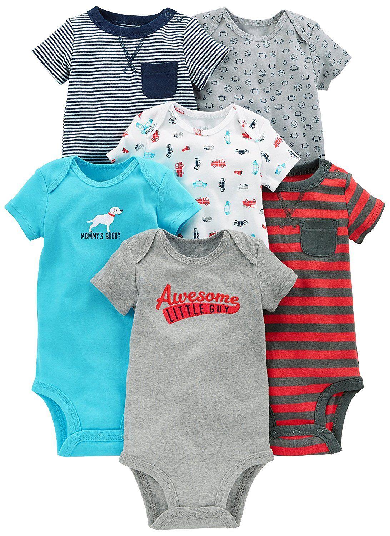 Simple Joys by Carter\'s Baby Boys 6-Pack Short-Sleeve Bodysuit, Navy ...