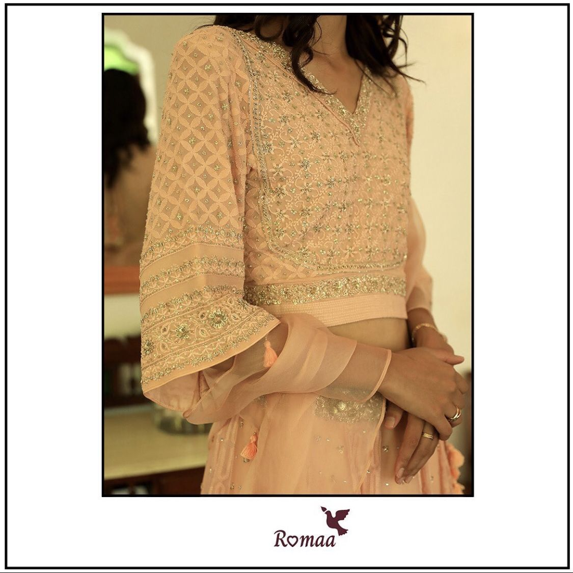 Elegant in pastels : There is never an occasion where pastels can let you down. This festive season, choose our simple yet glamorous lehenga with intricate detailing and a ruffle dupatta that will alway remains fashionable. #couture #fashion #style #Romaalabel #hautecouture #handmade #coutureaddict #dress #designer #sewing #fashiondesigner #fashionista #fashionblogger #couturefashion #festivewear #weddingtrousseau #weddingcouture #instafashion #luxury #design #dresses #fashionstyle #bhfyp