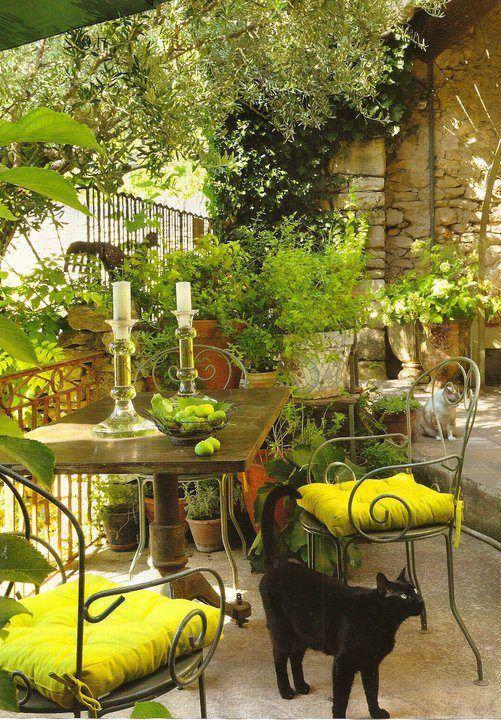 Cozy courtyard in shades of green
