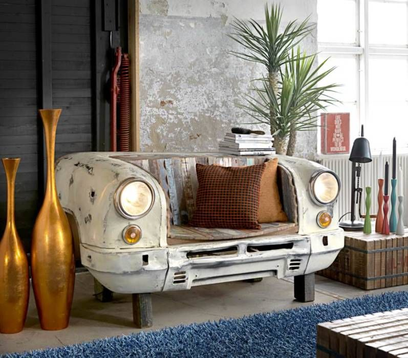 Ausgefallene Wohnzimmer Bilder Vintage Sitzbank Taxi Front - wohnzimmer deko ausgefallen