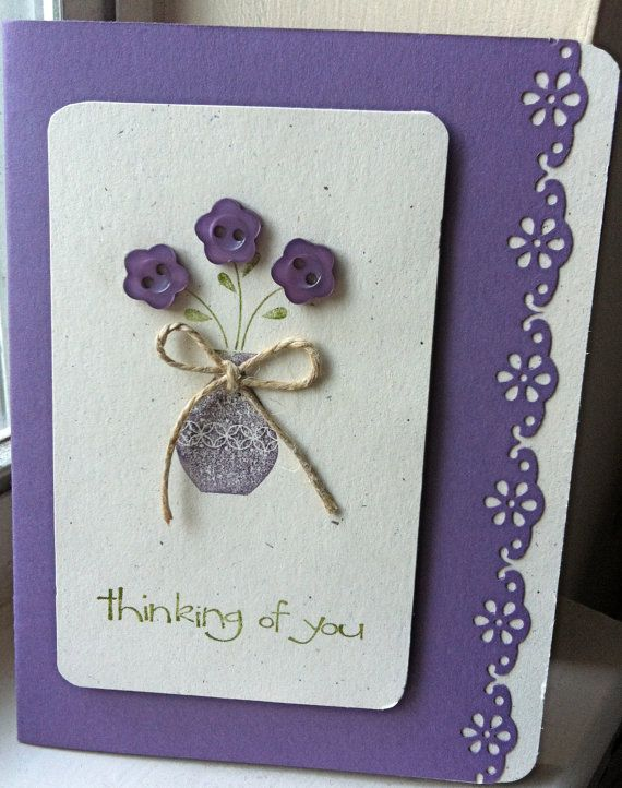 Thinking Of You Handmade Card Cards Handmade Button Cards Card