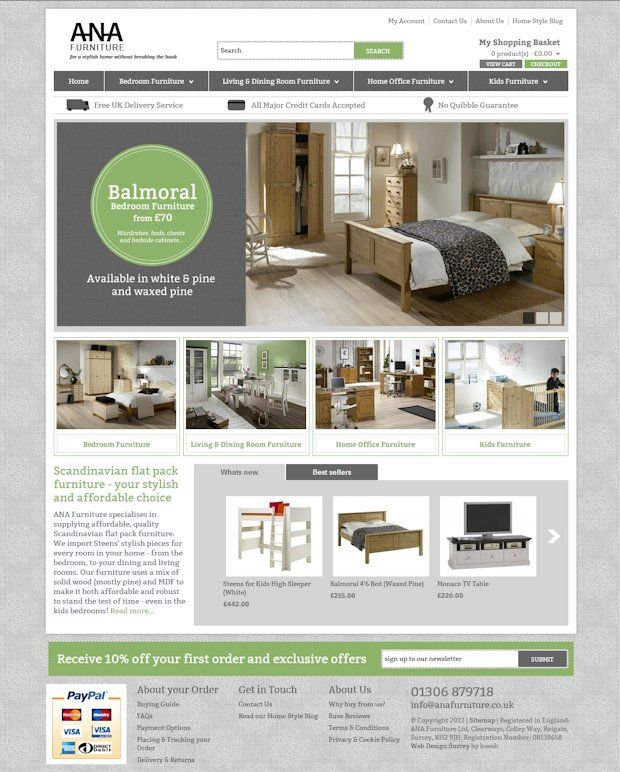 Basic homepage website design for an eCommerce website Features - company newsletter