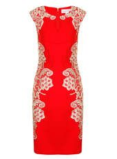 Paper Dolls Red And Cream Mirrored Dress