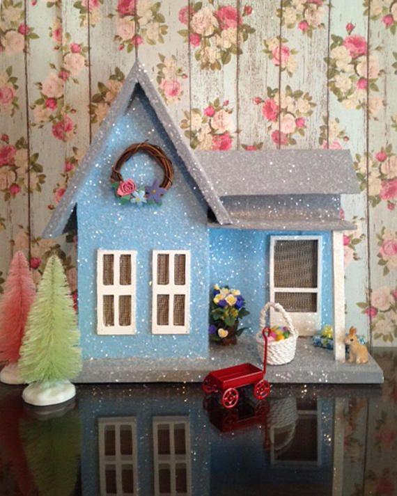 Miniature House Wood House Spring Glitter House Glitter Village